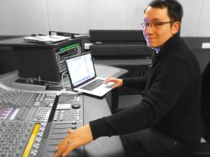 sam at desk colour blur